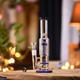 $enCountryForm.capitalKeyWord Australia - High Quality Blue Glass Bong Shisha Water Pipe Filter Smoking Hookah Sets Straight Vase Cylinder Pattern