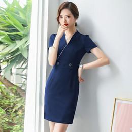 $enCountryForm.capitalKeyWord NZ - New style slim summer dress 2019 Office elegant dress robe femme formal Business blue party dress plus size 4XL vestidos