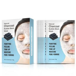 Korean Face Masks Australia - 1box Natural Detox Oxygen Charcoal Bubble Black Sheet Mask Oil Control Face Mask Blackhead Removal Facial Mask Korean Skin Care