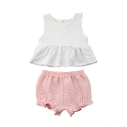$enCountryForm.capitalKeyWord Australia - Toddler Baby Kids Girls Summer Sleeveless Cotton Clothes Set Pure White T-shirt Tops Dress+Pink Short Pants Casual Outfits