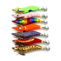 $enCountryForm.capitalKeyWord NZ - HENGJIA 7PC lot Rainbow Colors Luminous Artificial Bait Wood Squid jig with Squid hook2.5#hook Boxed Fishing lure 11g