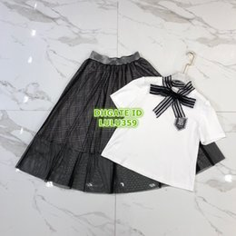 plaid bow dress NZ - Wome Girls Brief Two Piece Dress Tops T-Shirt Tee Shirt With Bow Rhinestone+Vintage Plaid Midi Mech Skirt Casual Runway Tee Shirt Sets Suit