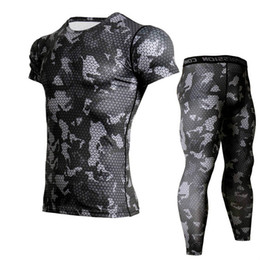 shorts tights set NZ - Camouflage Men's Running Suits Crossfit Tracksuit Jogging Compression Set Men Short Sleeve T Shirt Leggings Gym Fitness Tights