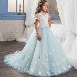 $enCountryForm.capitalKeyWord NZ - Retail girls butterfly appliqued flower embroidery lace mesh dress kids pearl beading short sleeve court princess ball bow wedding dresses