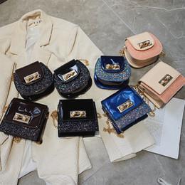 Korean mini Kids handbags online shopping - kids handbags Korean children sequins PU single shoulder mini Messenger bag boys girls small square cross body bags luxury designer handbags