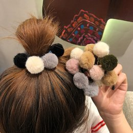 $enCountryForm.capitalKeyWord Australia - Woman Pompom Hair Ties Girls Elastic Hair Band Rubber Band Hair Accessories Gum Rope Cute Scrunchies Ponytail Holder
