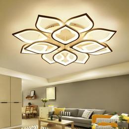 Vente en gros Moderne Acrylique Led Lustre De Plafond Avec Télécommande Salon Chambre Lampe De Lumière Luminaires Décoration Maison Éclairage 110-220V