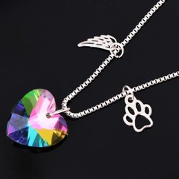 Wholesale COLORFUL GLASS LOVE HEART DOG PAW WING PENDANT NECKLACE FOR WOMEN FASHION LADY GIRL PENDANT SWEATER NECKLACES TOP BEAUTIFUL COLLAR JEWELRY