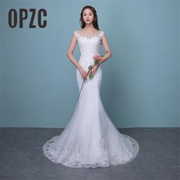 d1ce63cbad9 Illusion Sexy Mermaid Train Wedding Dress 2019 New Style Korean Lace  Appliques Sequined Fishtail Bride Princess estidos de noiva