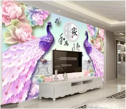 $enCountryForm.capitalKeyWord Australia - 3d wallpaper custom photo mural Chinese jade carving peony flower peacock Home decor living Room 3d wall murals wallpaper for walls 3 d