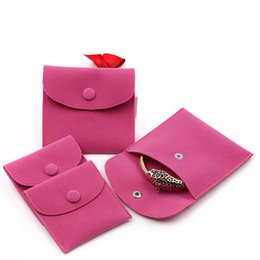 $enCountryForm.capitalKeyWord NZ - Velvet Jewelry Gift Packaging Bag Small Envelope shape Pouch with Snap Fastener Dust Proof jewelry Storage Bags hot pink