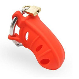 male chastity device cage ring UK - Medical grade Silicone Red Chastity Device Belt Cage Adjustable Ring AU79