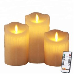 $enCountryForm.capitalKeyWord Australia - 3PCS Dripping Style Moving Wick Flameless LED Remote Control Wax Candles with Timer, Battery Flicker LED Pillar Wax Candle