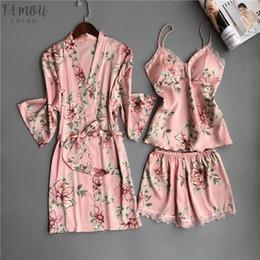 Women pajamas three piece online shopping - Women Nighties Pajamas Satin Sleepwear Pijama Silk Home Wear Lace Home Robe Chest Pads Sleep Lounge Pyjama Pink White Pieces
