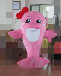 $enCountryForm.capitalKeyWord Australia - Shark Whale Pink Dolphin Mascot Costume Character Mascot Outfit Suit for Halloween party event