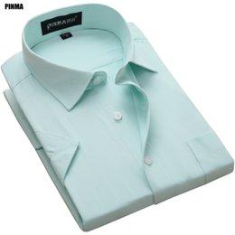 Mens Slim Fit Formal Shirts Australia - Pinma Dx1007-x 2017 New Spring Plus Size 8xl Formal Short Sleeve Slim Fit Twill Quality Mens Fashion Work Social Casual-shirts Y190506