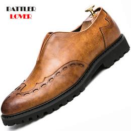 Leather Shoes Brogues Australia - Classic Men's Oxford Sole shoes Wedding Formal Dress Shoes Punk Men Genuine Cow Leather Brogue Men's Slip on Bullock
