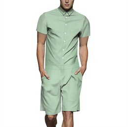 28b5e8e62ee2 2019 Fashion Short Sleeve Mens Rompers Male Single Breasted Jumpsuit Cargo  Short Pants Boyfriend Zip Trousers Party Overalls