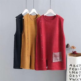 $enCountryForm.capitalKeyWord Australia - Plus size spring autumn loose vest sleeveless sweaters 2018 new fashion knitted O neck pockets wool female tops wear Pullovers