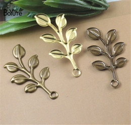 $enCountryForm.capitalKeyWord Australia - BoYuTe (100 Pieces Lot) 19*37MM Stamping Branch Leaf Pendant Charms Metal Brass DIY Hand Made Jewelry Accessories