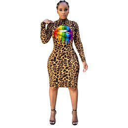 sexy clothes sold wholesale Australia - Women Sexy Lip Dresses Night Club Skirts Long Sleeve Leopard Crew Neck Fashion Print Designer Clothes Fall Winter HOT Sell DHL 1753