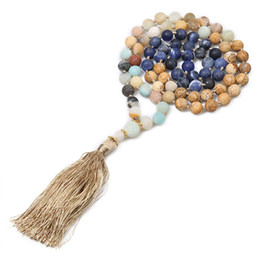 $enCountryForm.capitalKeyWord Australia - New Sweater Chain Natural Blue-vein Stone Amazonite Beads Bohemian Knotted Tassel 108 Mala Necklace Women Yoga Jewelry Wholesale
