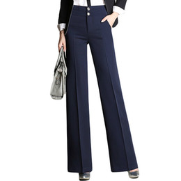 $enCountryForm.capitalKeyWord Australia - Fashion Womens Office Pants New Designer Ladies Black Navy Wide Leg Pants Womens Slim Formal Suits Pants Trousers Y19071601