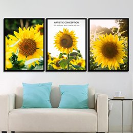 Sunflower Pictures Australia - Nordic Style Canvas Art HD Print Painting Minimalist Beautiful Sunflower Landscape Poster Wall Pictures For Home Wedding Decor