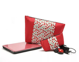 Beautiful Cosmetic Bags Australia - Cherry cosmetic bag Promotional beautiful lady cherry printing cosmetic Travel bag set fashion red fruit pattern Women makeup bag