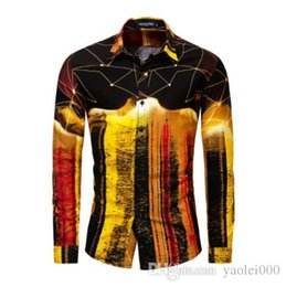 T Shirts Handsome Australia - Golden casual four seasons men's long-sleeved shirt cotton color mixed color shirt lapel fit handsome outdoor men's long-sleeved t