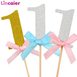One Year Party Decorations Australia - Lincaier 10Pcs Number 1 Cupcake Topper 1st Birthday Party Decorations Baby Boy Girl First Birthday One Year Supplies Glitter