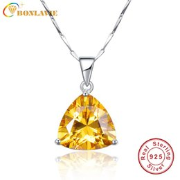 silver wedding gifts for friends 2019 - BONLAVIE 100% 925 Sterling Silver Pendant Necklaces with Yellow Citrine Pendant Stone Best Gift for Girl Friend Wedding