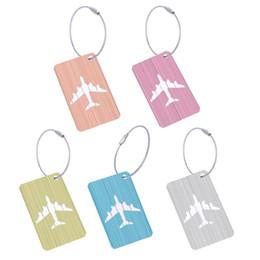 $enCountryForm.capitalKeyWord Australia - Cute Luggage Tag Aluminum Alloy Air Plane Travel Suitcase Name Address ID Label Address Holder Boarding travel accessories 1PC