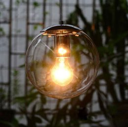 $enCountryForm.capitalKeyWord Australia - Modern Minimalist Clear Glass Ball Pendant Light fixture DIY home deco living room Personalized Art Chrome Pendant LampE27 bulb