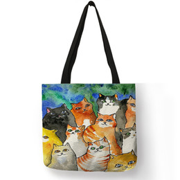 Bags Carry Puppies Australia - Unique Animal Footprint Cat Puppy Pattern Tote Bag For Girls Ladies Travel Beach Easy Carry Large Capacity Personalized Handbag