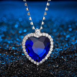 $enCountryForm.capitalKeyWord Australia - Romantic The Heart of ocean necklace For women Blue Red crystal Heart Shape with Lovers Gemstone Pendant necklaces Titanic Jewelry