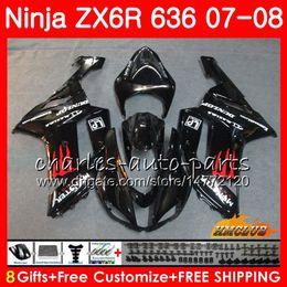 $enCountryForm.capitalKeyWord Australia - Bodys For KAWASAKI NINJA ZX 636 ZX-600 ZX-6R ZX636 2007 2008 34NO.146 ZX 6R 6 R 07 08 ZX600 600CC ZX-636 glossy black ZX6R 07 08 Fairings
