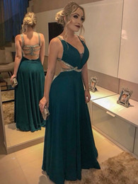 white green dress design Australia - Sexy Design A Line V Neck Floor Length Dark Green Chiffon Formal Evening Gowns Crystal Beaded Cheap Formal Women Prom Dresses
