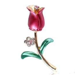$enCountryForm.capitalKeyWord UK - Red Pink Tulip Flower Brooch New arrive Enamel pin Green Brooch Leaf Brooches for Women Girls Dress Clothes scarf pins