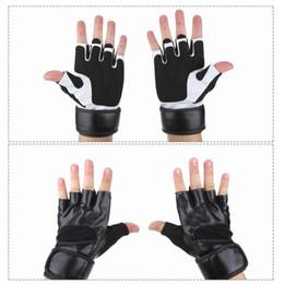 Leather Wrist Gloves Australia - 1Pair Posture Corrector Wrist Finger Brace Support Protection PU Leather Anti-skid Half-finger Gym Training Fitness Gloves