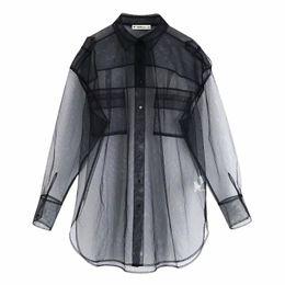 Wholesale loose transparent shirts online – Women Transparent Mesh Blouse Pockets Sexy See through Black Shirt Casual Loose Female Turn Down Neck Long Shirt