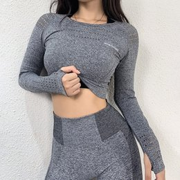 Wholesale cropped shirts for sale - Group buy Women Seamless Sport Cropped Tops Gym Sportswear Short Yoga Shirts Running T Shirt Long Sleeve Workout Gym Tops Fitness Clothes