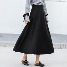 3d0683030196 Autumn Winter Woolen Skirt Women Warm Thick High Waist Skirts Casual A-line  Wool Skirt Female Elastic Big Swing Long S1232