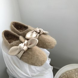 $enCountryForm.capitalKeyWord Australia - Gorgeous2019 In Shallow Mouth Baby Square Increase Cashmere Sheep Curly Hair Pad Silk Bring Bow Flat Bottom Grandma Shoe