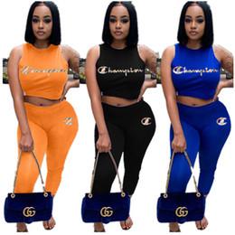$enCountryForm.capitalKeyWord NZ - Women Champions Embroidery Tracksuit Tank Vest Crop Top + Pants Leggings Designer t shirt Brand Outfits Rainbow Letters Sport Suit C71004