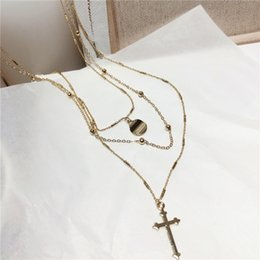 $enCountryForm.capitalKeyWord Australia - Boho Style Triple Layered Chain Choker Necklace for Women Dainty Mary Cross Chokers Chic Disc Coin Necklaces Wholesale