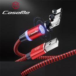Cable magnético de CaseMe para Samsung Xiaomi Trenzado Imán Plug LED Tipo C Micro USB para iPhone 1 M Cables Cable magnético de carga rápida en venta