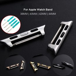 watch adapter UK - With Tool Adapter Connector For Apple Watch Band 44MM 40MM 42MM 38MM iwatch Series 5 4 3 2 1 Clasp Seamless Aluminum Wristband Strap Linker