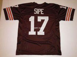 Costume retro Costurado Costurado # 17 Brian Sipe MITCHELL NESS Jersey Jerseys de Futebol dos homens Faculdade NCAA venda por atacado