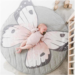 Butterfly prints faBric online shopping - INS New Baby Play Mats Kid Crawling Carpet Floor Rug Baby Bedding Butterfly Blanket Cotton Game Pad Children Room Decor d rugs